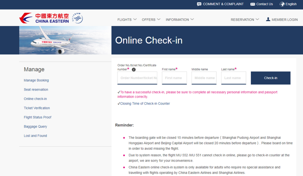 Check-in China Eastern Airlines