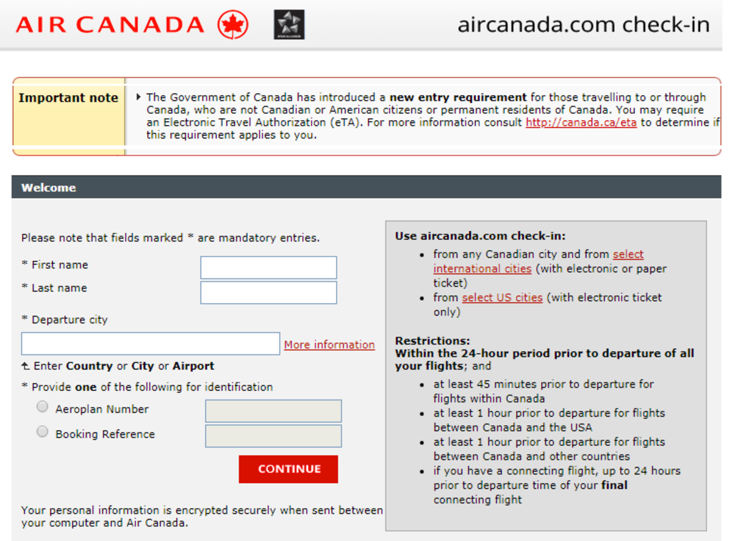 Check-in Air Canada